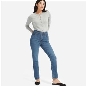 Everlane cigarette high waisted button fly blue